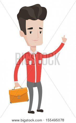 Caucasian businessman pointing finger up because he came up with business idea. Businessman having business idea. Business idea concept. Vector flat design illustration isolated on white background.