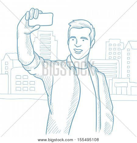Caucasian man making selfie on a city background. Young man taking photo with cellphone. Smiling man looking at smartphone and taking selfie. Hand drawn vector sketch illustration on white background.