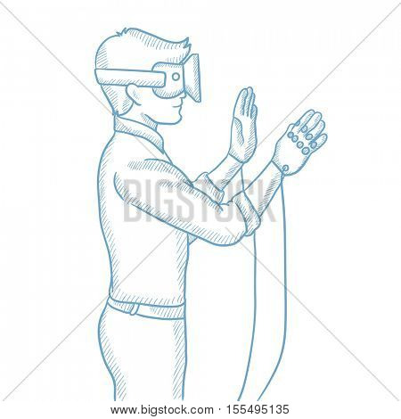 Man wearing a virtual reality headset. Man playing virtual video games. Gamer wearing gamer gloves. Virtual reality concept. Hand drawn vector sketch illustration on white background.
