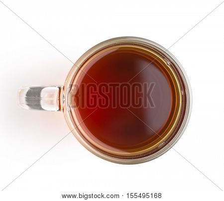 Tea in glass cup isolated on white background. Top view.
