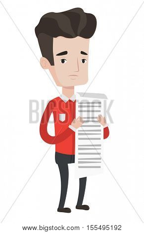 Caucasian businessman standing with a long bill in hands. Disappointed businessman holding long bill. Businessman looking at long bill. Vector flat design illustration isolated on white background.