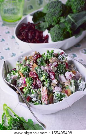 Broccoli Salad Recipes. Broccoli Salad with Bacon, Dried Cranberries, Sunflower Seeds and Mayonnaise in white Salad Bowl.