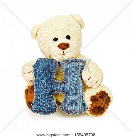 Teddy bear with one letter of jeans alphabet