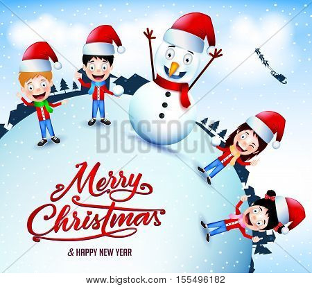 Animated Characters Playing Snow Outdoor On Christmas Season Vector Illustration