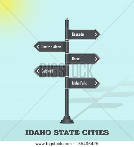 Road signpost template for USA towns and cities - Idaho state