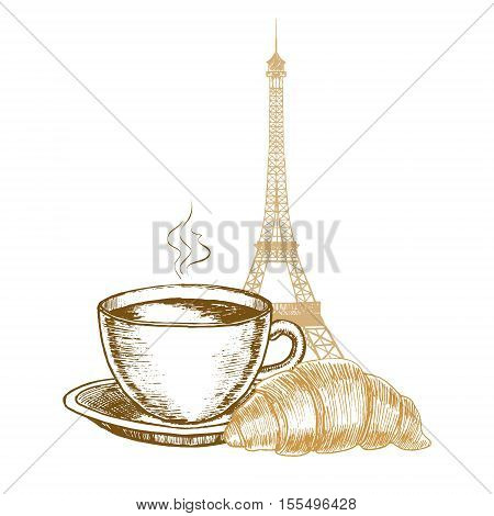 Eiffel Tower, Croissant and Coffee Cup in Paris Hand Draw Sketch. Vector illustration