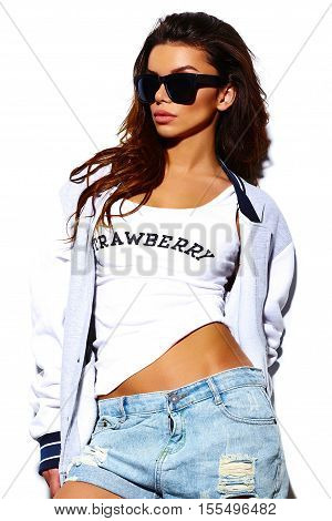 High fashion look.glamor stylish cute beautiful young woman model in hipster clothes
