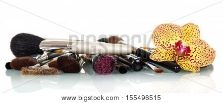 Cosmetic brush for makeup and orchid flower isolated on white background.