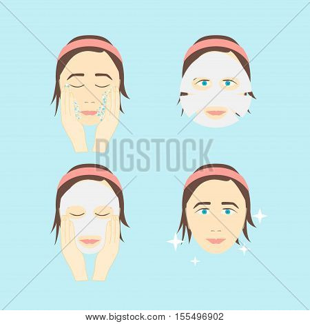 Facial Sheet Mask Step by Step. Poster with the Instruction Manual. Vector illustration