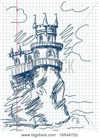 Castle doodle Vector. Visit my portfolio for big collection of doodles