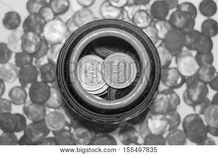 Thai Coins In A Jar.