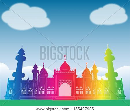 a vector illustration of an islamic asian architecture mosques domes and minarets under a blue sky sky
