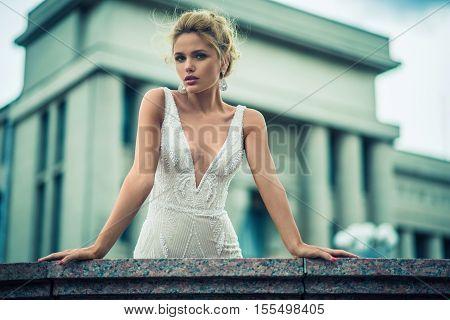 Wedding day. Beautiful bride in the garden