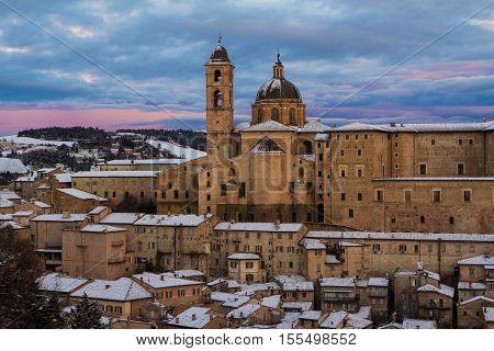 Urbino city covered by snow. Landmarks of Italy.