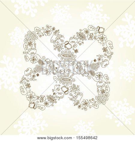 Vector quarter-foil  on beige background - illustration