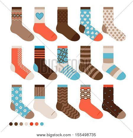 Colorful pastel cute socks. Nice warm vector male sock set