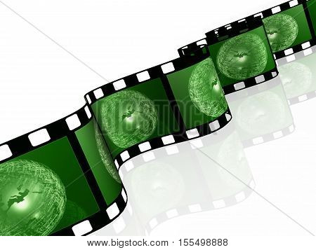 Film roll with green pictures (communication) on white background 3D illustration.