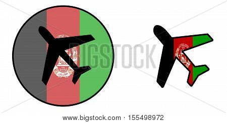 Nation Flag - Airplane Isolated - Afghanistan