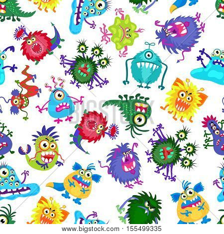 Cute monster party vector kids seamless pattern. Background with colored monsters. Illustration of bizarre monster
