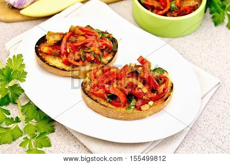 Bruschetta With Vegetables In Plate On Table