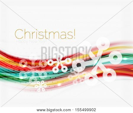 Snowflakes on wave line, Christmas and New Year background or greeting card