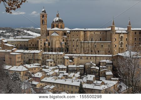 Beautiful view of Urbino city with snow in the winter season, Italy