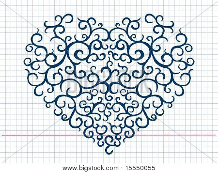 Hand drawn heart pattern. Visit my portfolio for big collection of doodles