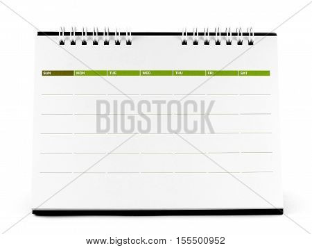 close up blank desk spiral calendar isolated on white background