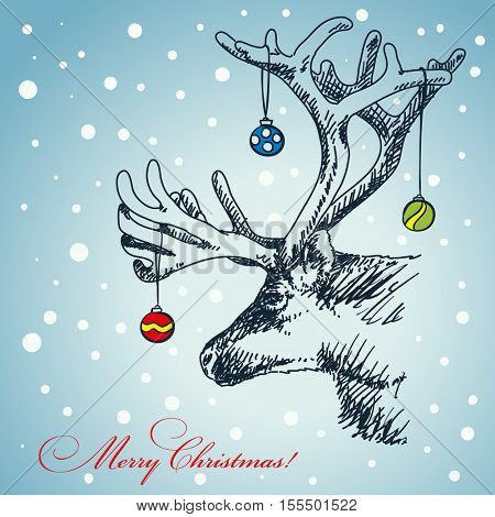 Christmas card hand drawn deer with decoration hanging in his antlers