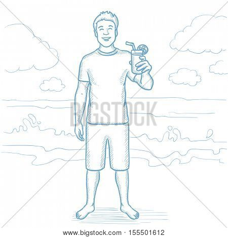 Joyful man holding a cocktail in hand on the beach. Happy man drinking a cocktail on a beach. Smiling caucasian man on a beach with cocktail. Hand drawn vector sketch illustration on white background.