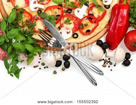 Pizza and cutlery isolated on white background.