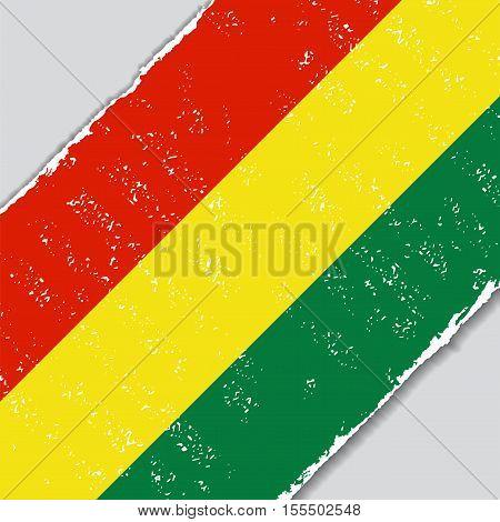 Bolivian grunge flag diagonal background. Vector illustration.