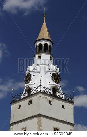 Church tower in Ivancice, which dominates the small town in southern Moravia, Czech Republic.