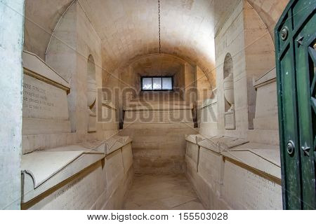 PARIS, FRANCE, APRIL 23, 2016,  Gallery with graves of famous personages in the Pantheon of Heroes