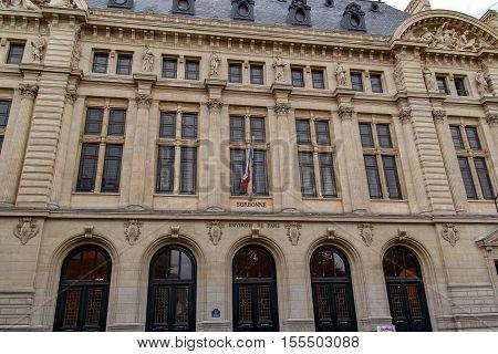 PARIS, FRANCE, APRIL 24, 2016. Facade of the Sorbonne, famous University of Paris