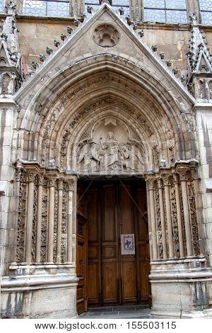 PARIS, FRANCE, APRIL 24, 2016. Detail of the main door of the abbey of Sant Germain des pres