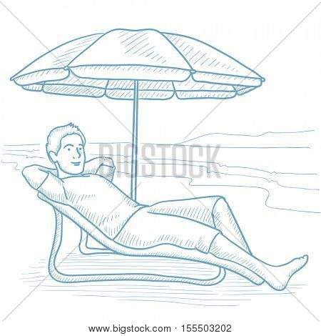 Happy man resting in a chaise longue under umbrella on the beach. Man sitting in a chaise longue on the beach. Man relaxing in beach chair. Hand drawn vector sketch illustration on white background.