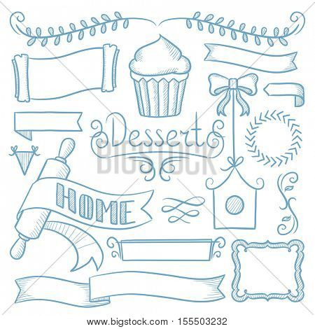 Set of vintage labels, ribbons, frames, banners, logo and advertisements for bakery menu board. Hand drawn vector sketch illustration on white background.