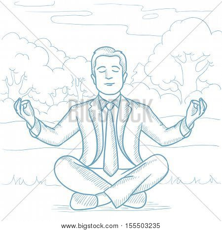 Caucasian businessman meditating in yoga lotus pose on beach. Man relaxing on beach in the yoga lotus position. Man doing yoga on the beach. Hand drawn vector sketch illustration on white background.