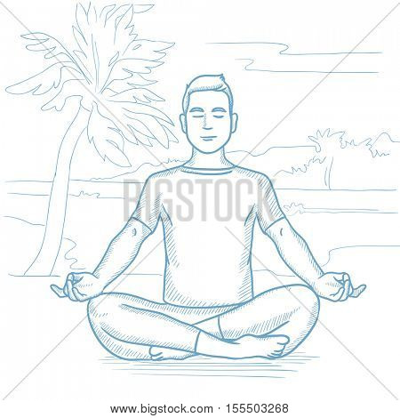 Caucasian man meditating in yoga lotus pose on the beach. Man relaxing on the beach in the yoga lotus position. Man doing yoga on the beach. Hand drawn vector sketch illustration on white background.