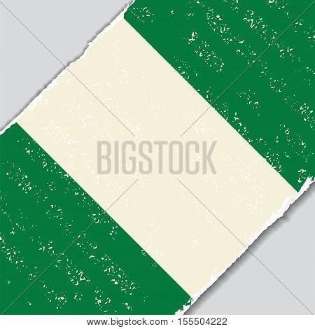 Nigerian grunge flag diagonal background. Vector illustration.