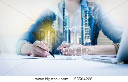 Double Exposure Of Business Woman Prepare And Writing For Documents And Graph Business Diagram, Busi