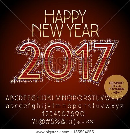 Vector chic glitter Happy New Year 2017 greeting card with set of letters, symbols and numbers. File contains graphic styles