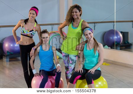 Group of women smiling in gym