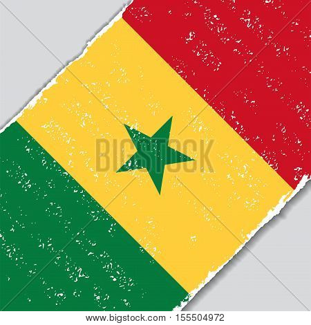 Senegalese grunge flag diagonal background. Vector illustration.