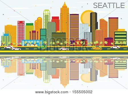 Abstract Seattle Skyline with Color Buildings and Reflections. Vector Illustration. Business Travel and Tourism Concept with Modern Architecture. Image for Presentation Banner Placard and Web Site.