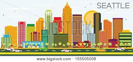 Abstract Seattle Skyline with Color Buildings. Vector Illustration. Business Travel and Tourism Concept with Modern Architecture. Image for Presentation Banner Placard and Web Site.