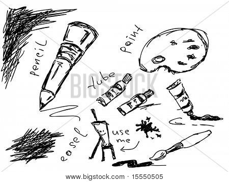 Hand drawn artistic doodles