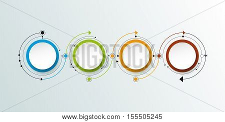 Vector molecule with 3D paper label integrated circles background. Blank space for content, business, infographic, diagram, digital network, flowchart. Social network connection technology concept