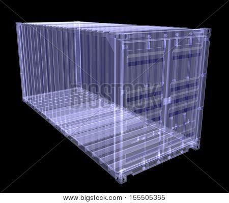 X-ray shipping container isolated on black. 3D rednering